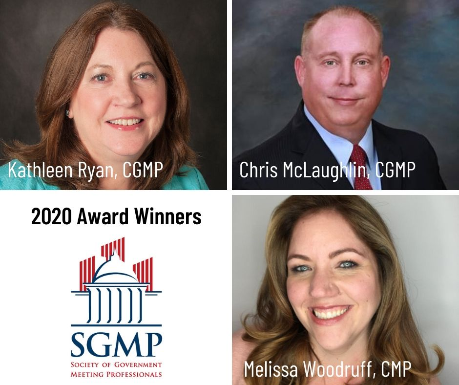 Kathleen Ryan, Chris McLaughlin and Melissa Woodruff were honored with national awards at SGMP's Sam Gilmer Awards Celebration May 20, 2020.
